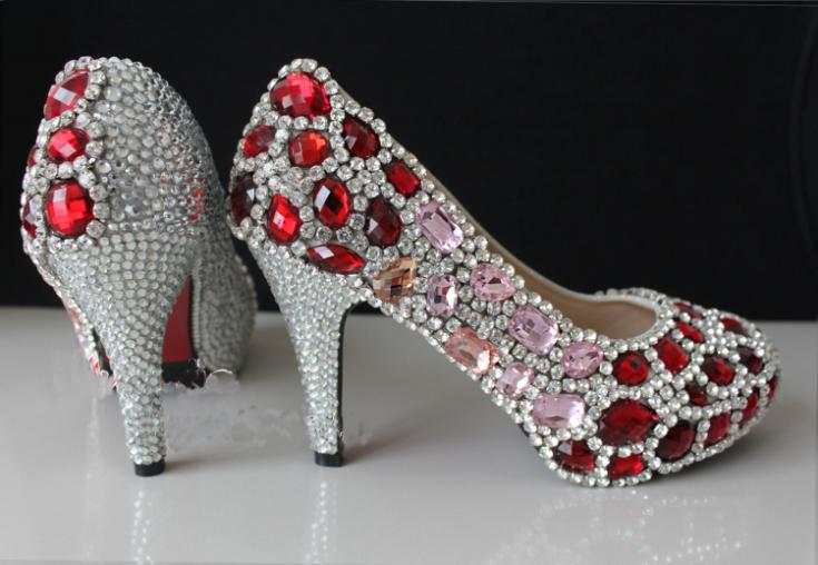 Gorgeous And Fashion Red Crystal High Heels Rhinestone Bride Wedding Shoes Banquet Nightclub Party Prom Pumps Woman Shoes free shipping sparkly silver crystal and rhinestone high heels with spikes ultra high heels shoes for wedding party prom