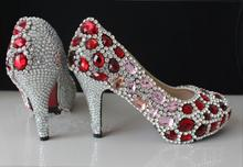 Gorgeous And Fashion Red Crystal High Heels Rhinestone Bride Wedding Shoes Banquet Nightclub Party Prom Pumps Woman Shoes