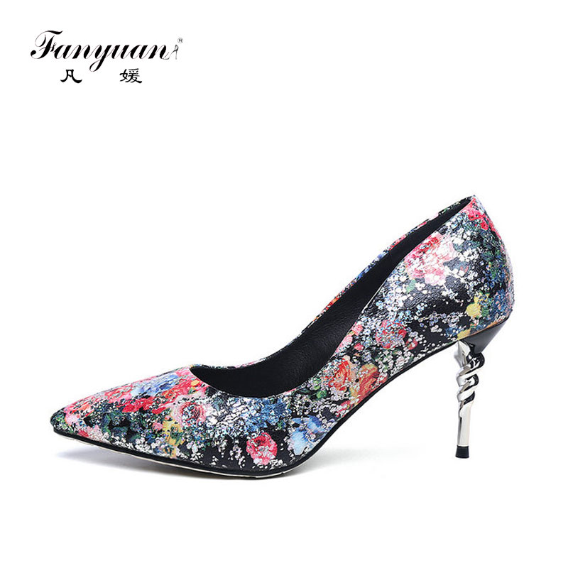 ФОТО New 2017 Spring Elegant Women Pumps Super High Thin Silver Spiral Heels Slip-on Print Beautiful Flowers Ladies Shoes Size 32-42