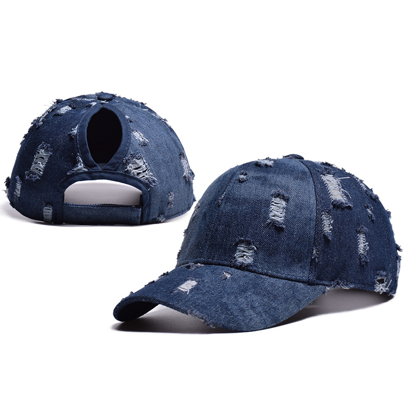 2018 Mode Loch Denim Frauen Pferdeschwanz Baseball Kappe Sommer Mesh Hüte Casual Sport Caps Einstellbare Drop Verschiffen