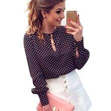 Bluse slit dots polka blusas open chiffon hollow blouse tops shirt