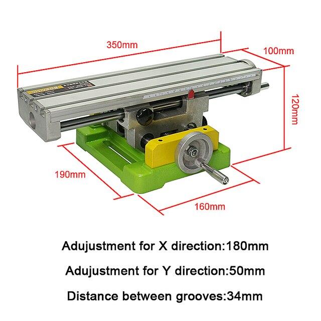 Miniature precision LY6350 fraiseuse multifonction banc perceuse étau montage table de travail X-axe réglage table de coordonnées