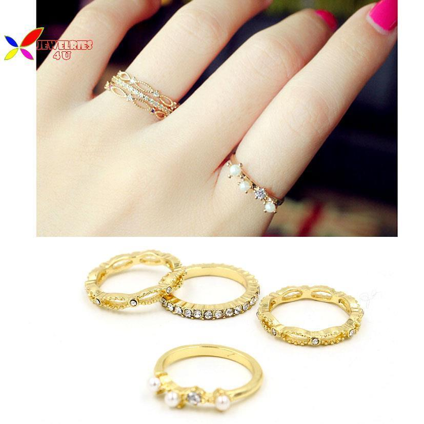 new 2015 ring jewelry sets fashion women\'s Designer gold 4 pack ...