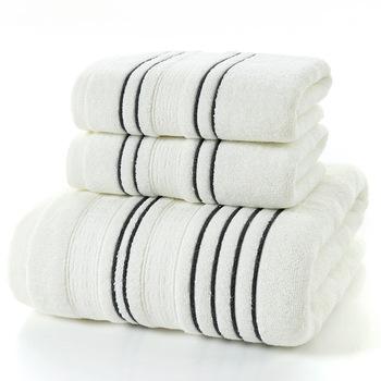 LYN amp GY Grey Men bawełniany zestaw ręczników kąpielowych dla dorosłych toalla 2 szt Myjka do twarzy 1 szt Ręcznik kąpielowy prysznic kempingowy ręczniki łazienkowe 3 szt tanie i dobre opinie LYN GY Rectangle Żakardowe 0 6KG Paski 100 bawełna Przędzy barwionej GY39 26 s-30 s Quick-dry Cotton Tkane Towel Set