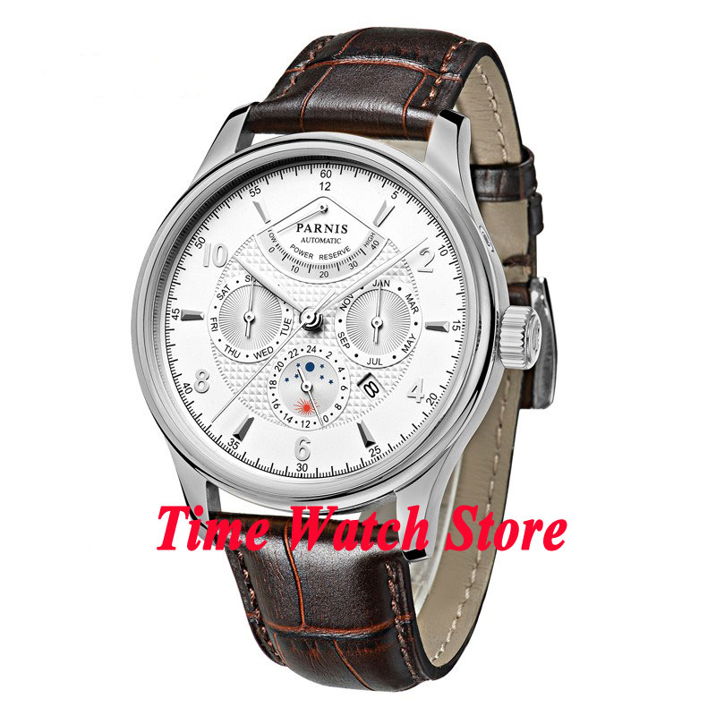 42mm parnis white dial power reserve Sapphire Glass 26 jewels miyota 9100 Automatic mens Watch 537 relogio masculino luxury brand 42mm parnis black dial white dial date 24 hour power reserve moon phase miyota 9100 automatic mens wrist watch p560