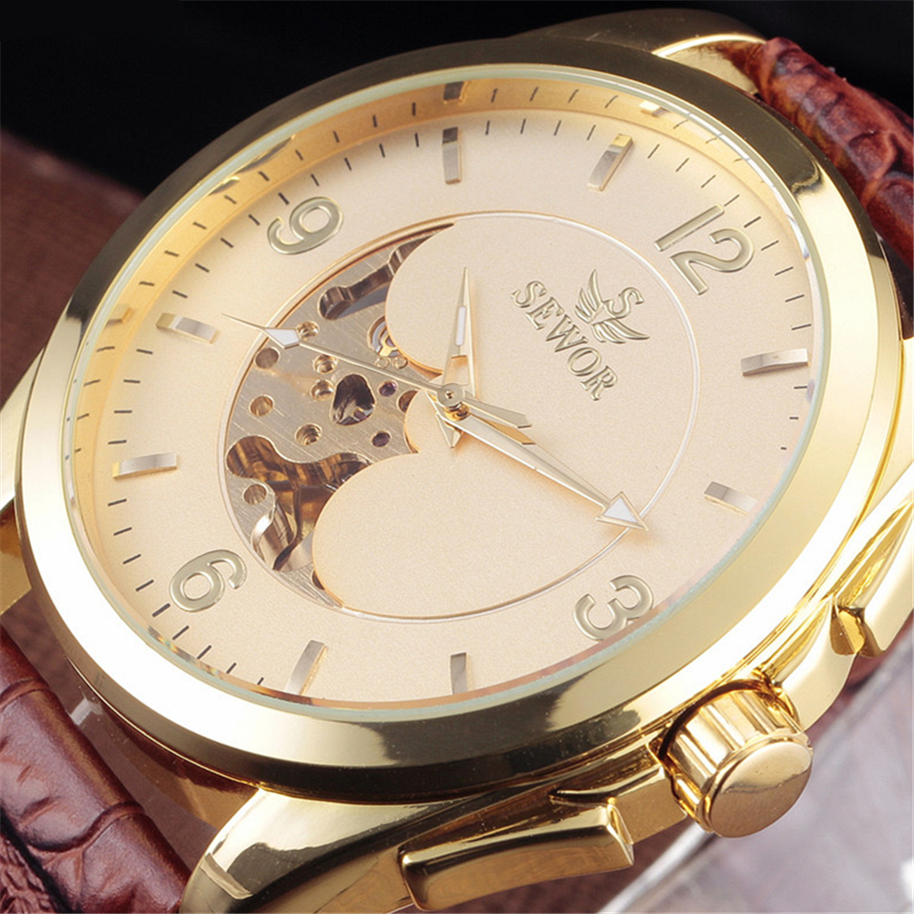 2016 Fashion Sewor Brand Big Dial Design Skeleton Men Clock Luxury Gold Mechanical Leather Wrist Male Business Sport Gift Watch yisuya casual fashion men self wind mechanical watch skeleton dial design brown leather band cool sport male watch best gift
