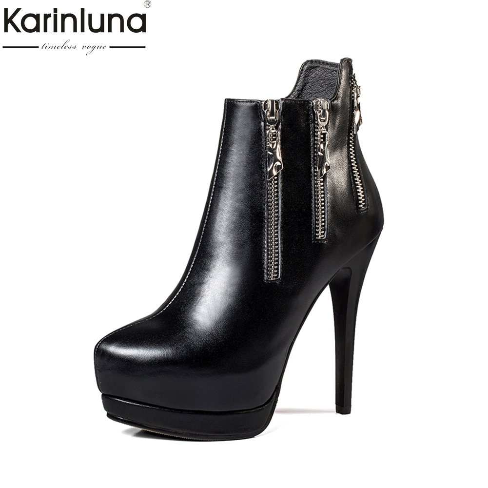 KARINLUNA 2018 brand design cow leather zipper decoration women shoes woman thin high heel ankle boots genuine leather boots цена