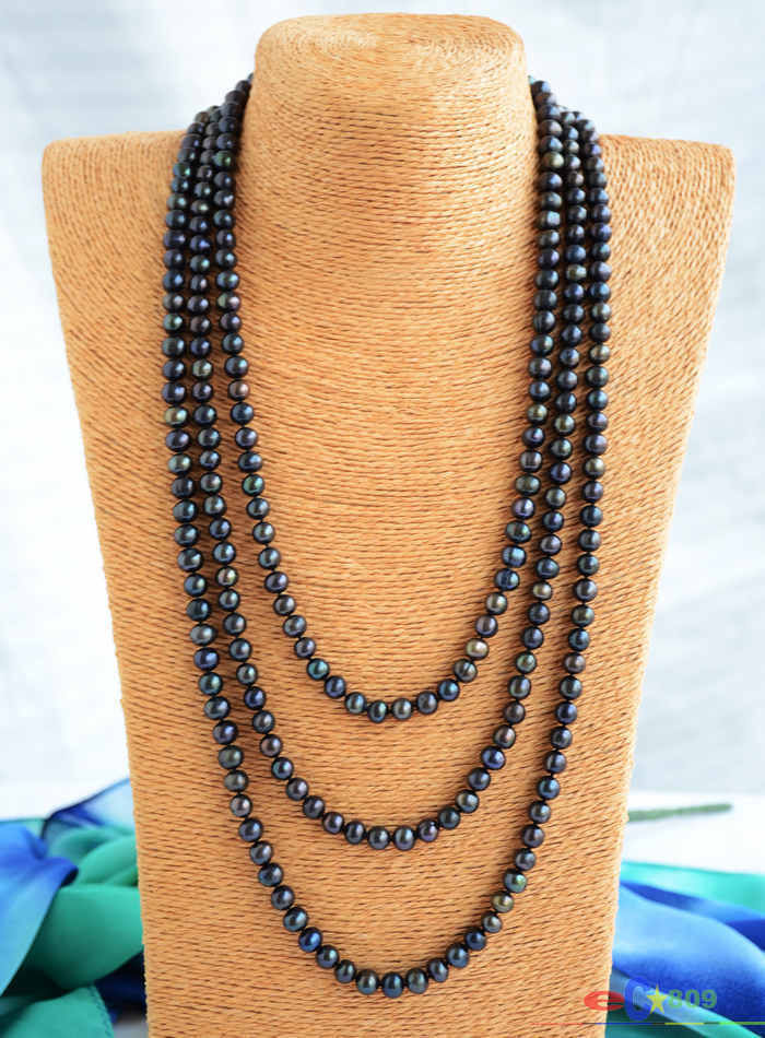 Free shipping@@@@@ P4849 Long 80 8mm round black freshwater pearl necklace