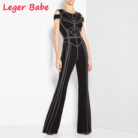 Leger Babe 2018 Autumn Women Patchwork Jumpsuits Elegant Black Luxury Long Rompers Celebrity Party Overalls Short Sleeve Vestido