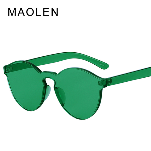 3a8558ba1d5 MAOLEN Fashion Women Sunglasses Cat Eye Shades Luxury Brand Designer Sun  Glasses Integrated Eyewear Candy Color