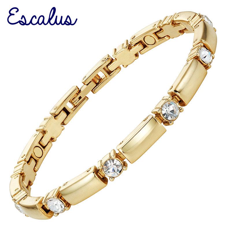 Escalus 2018 New Trendy Crystals Magnetic Jewelry Slim Girl Braccialetto per le donne Fashion Fascino color oro Braccialetti caldi Wristband
