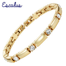 Escalus 2018 New Trendy Crystals Magnetic Jewelry Slim Girl Bracelet For Women Fashion Charm Gold Color Hot Bracelets Wristband