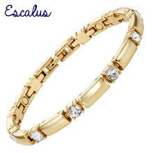 Женский магнитный браслет escalus изящный золотого цвета с кристаллами