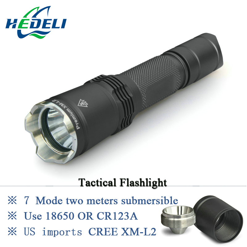 7 Mode Tactical flashlight CREE LED linternas XM-L2 Torch IPX-8 waterproof CR123A OR 18650 rechargeable battery Hunting Lights self defense flashlight 5 mode 2000lm cree xm l t6 led 18650 26650 battery waterproof high power torch lamp linternas