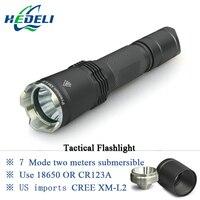 7 Mode torche Tactique CREE LED linternas XM-L2 Torche IPX-8 étanche CR123A OU 18650 rechargeable batterie Feux de Chasse