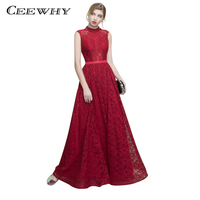 CEEWHY High Collar Vestido De Luxo Bordado Lace Dress Long Gown Abiye Burgundy Evening Dress Backless