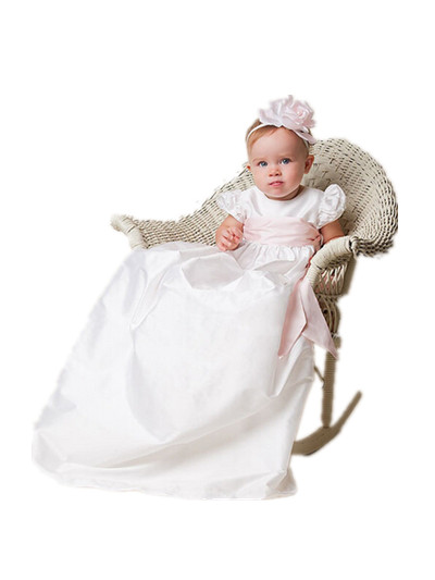 BABY WOW White Baby Girl Christening Gowns Long Lace Pearl, Christmas Dress First Communion Dresses Girls 80137