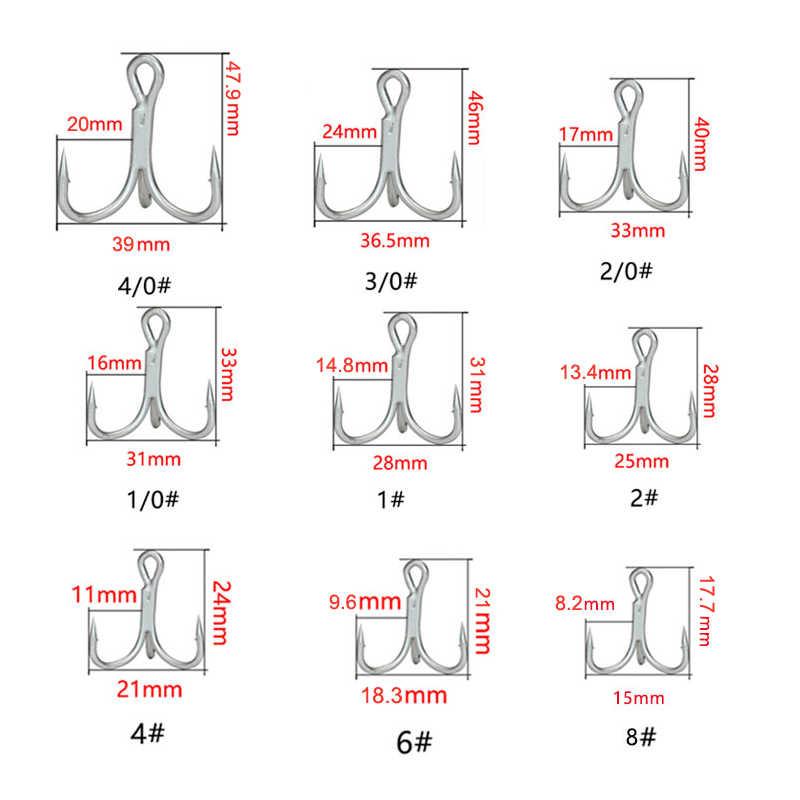 10 Pcs SHARP Quadruple Diperkuat Treble Memancing Kait Triple Jangkar Hook 4X Kali Kuat Umpan Tiga Garpu Tiga Cakar Kait