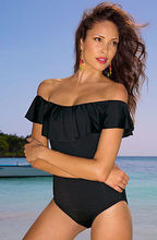 Womens One Piece Solid Ruffles Off Shoulder Swimsuit Holiday Beach Swimwear Bathing Monokini Push Up Bikini