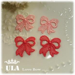 Wholesale bow designs applique 2.5cm DIY Decoration Lace Fabric Paste Decoraive Cloth Paste pink red  Lace Applique  120pcs/lot