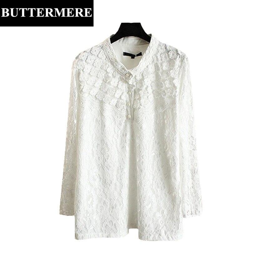 BUTTERMERE 3XL Plus Size Lace Blouses Women Long Sleeve Floral Mesh Shirt Pearl Diamond Runway Top