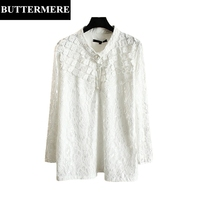 BUTTERMERE 3XL Plus Size Lace Blouses Women Long Sleeve Floral Mesh Shirt Pearl Diamond Runway Top