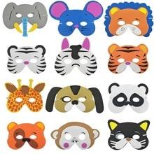 12 PCS DIY kids animal masks EVA Foam Birthday Party Masks Decor Kids Jungle Safari Favors