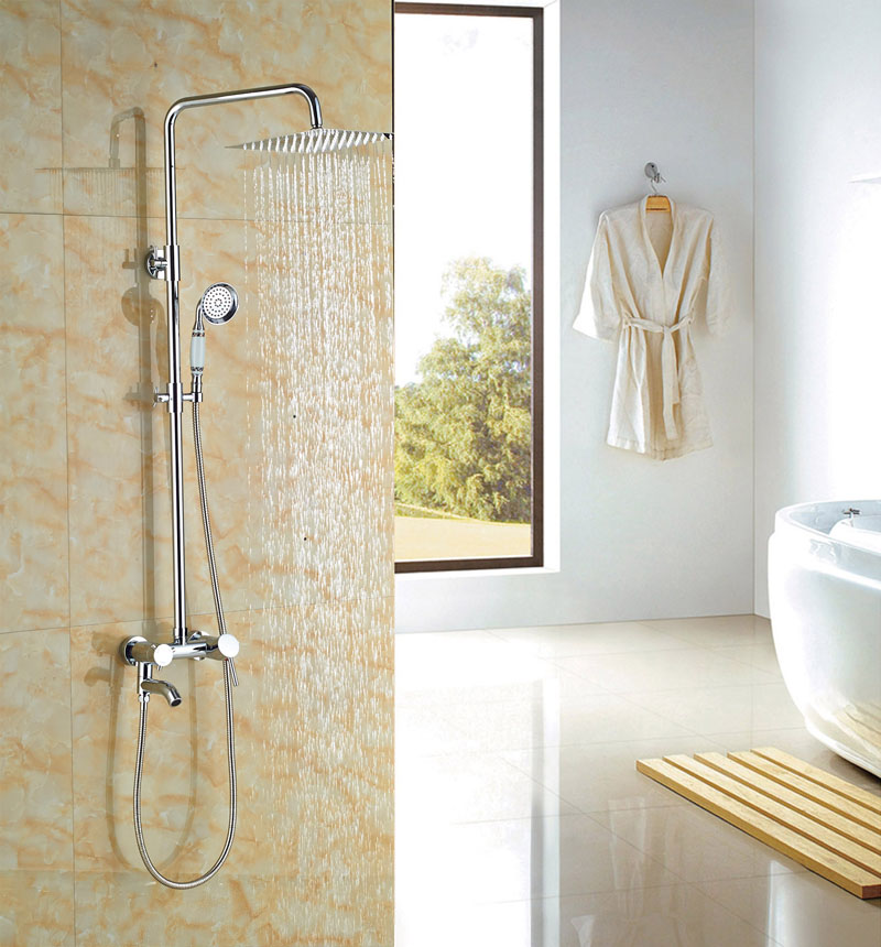 Luxury 8-in Square Brass Shower Head Bathroom Wall Mounted Chorme Finish Shower Set Mixer Tap sognare new wall mounted bathroom bath shower faucet with handheld shower head chrome finish shower faucet set mixer tap d5205