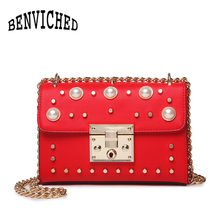 BENVICHED 2019 New Fashion Luxury Handbags Women Bags Designer Rivet Messenger Bags Laides Shoulder Bag bolsa feminina L075 benviched 2018 new winter fashion pu leather women shoulder bags top handle women bags plush messenger bags bolsa feminina l100