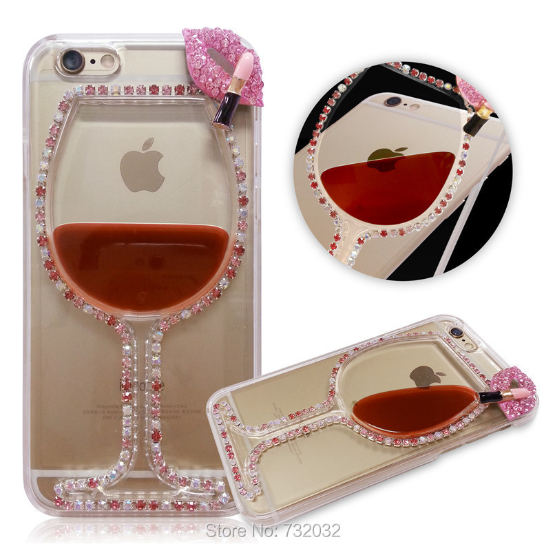 for Samsung Galaxy S6 S6 Edge 3D Bling Rhinestone Red Wine Cup Lips Liquid Phone Case for iPhone 4s 5s SE 6 6s Plus 7 7Plus Case