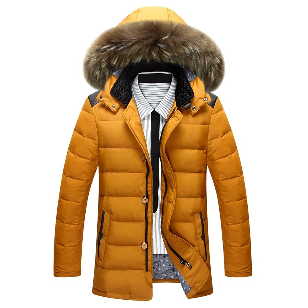 New 2016 Winter Mens Down Jacket Fur Collar Cotton-padded Coat Thickening Warm Parka Men, Veste Homme Men Coat