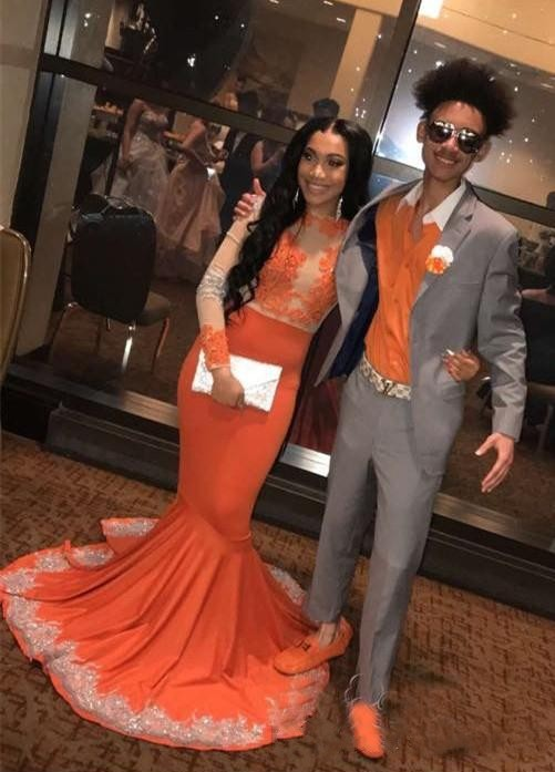 Gorgeous Sheer Neck Long Sleeves   Prom     Dresses   2019 Sexy Mermaid Evening Gown For Party Csutom Made Vestidos largos de fiesta