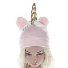 2a5ecd60f4d2a Christmas Kids Hats for Girls Unicorn Pattern Soft Children Hat Girl Knot Cap  Boy Cute Skullies