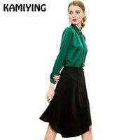 KAMIYING 2019 весна новый стиль однотонная одежда отложным воротником тип с длинным рукавом сращены атласные шелковые рубашки уличная одежда