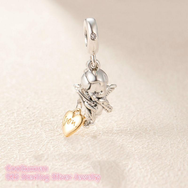 2019 Valentine's Day 925 Sterling Silver Cupid & You Charm, Clear CZ Beads Fit Original Pandora Charms Bracelet DIY Jewelry