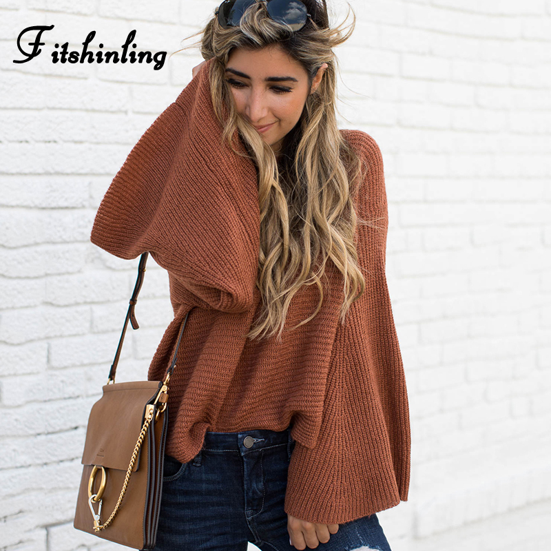 Fitshinling Flare Sleeve Fashion Lady's Sweater Knitwear Autumn Winter Solid Coffee Sweaters For Women Pullovers Jumpers Knitted
