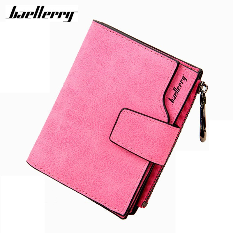 Baellerry Solid Small Purse Carteras Zipper Matte PU Leather Women Wallet Mujer Femininas short mini wallet bifold purse Clutch women short wallet vintage coin purse clutch clip lovely animal prints soft leather small purse carteras mujer sacoche homme