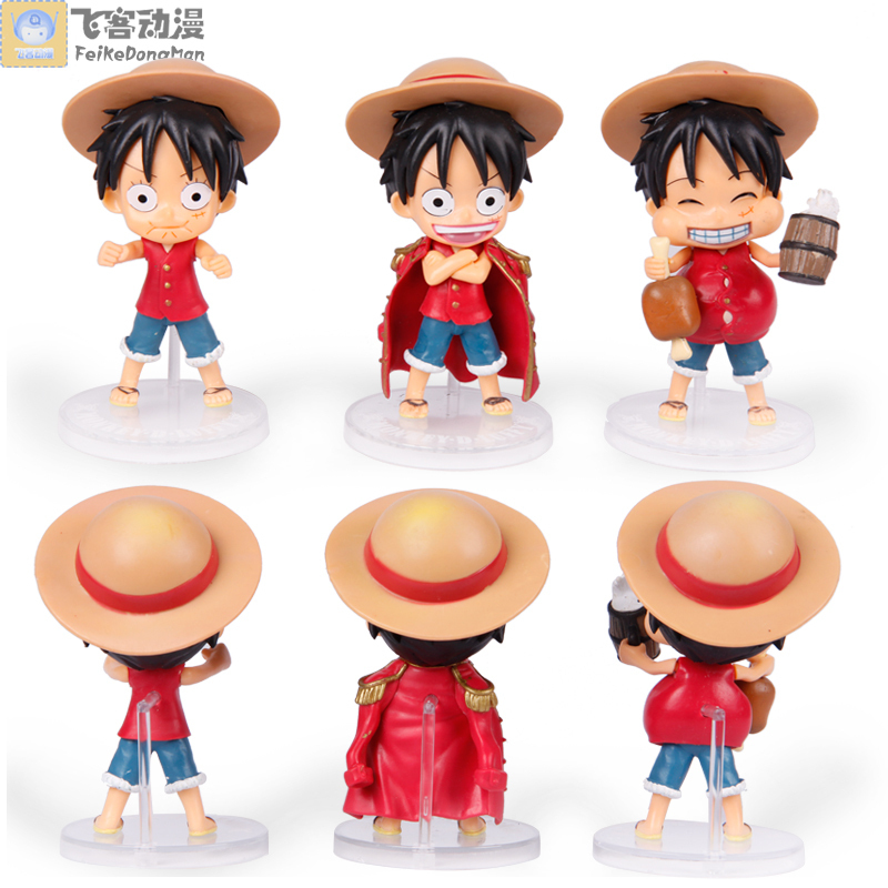 Free Shipping Cute One Piece Monkey D Luffy PVC Action Figure Collection Model (3pcs per set) anime one piece nightmare luffy figure pvc action figure collection model toys free shipping