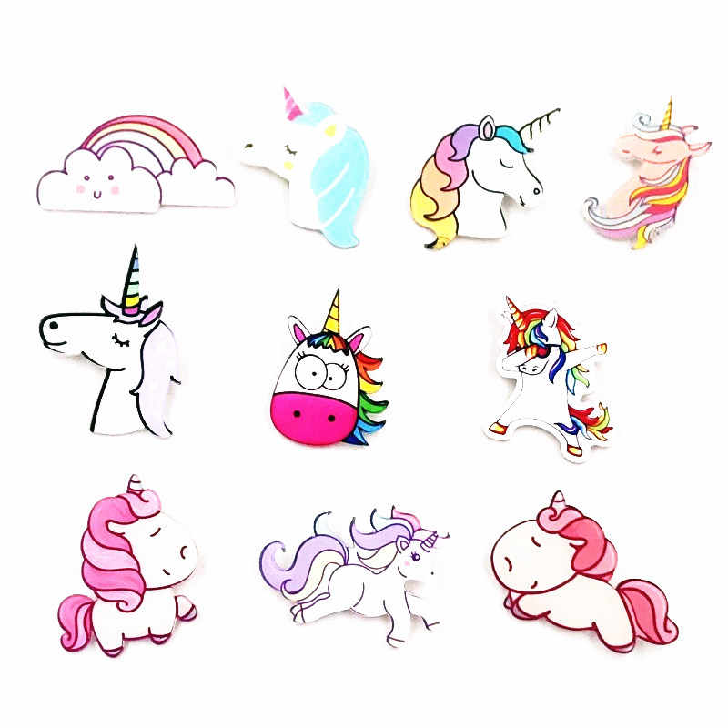 Hot Sale 1PCS Unicorn Cartoon Icons on Backpack Bag Brooches Pins For Clothing Acrylic Badges fashion girls women New Arrival