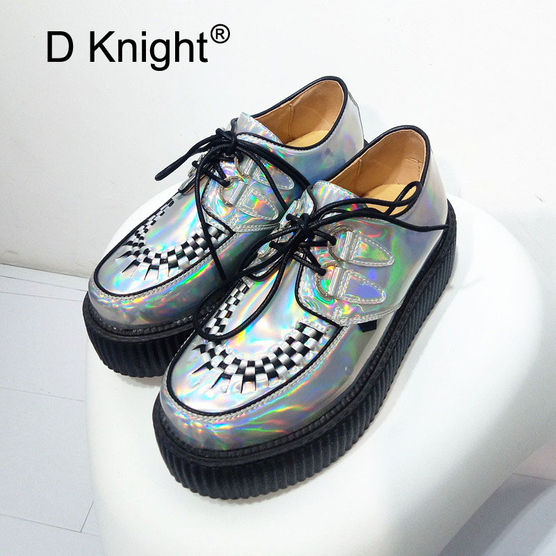 Printemps Automne 2018 Mode Argent Hologramme Laser Femmes Goth Punk Haute Plate-forme Creepers Chaussures HARAJUKU Creeper Femme Filles