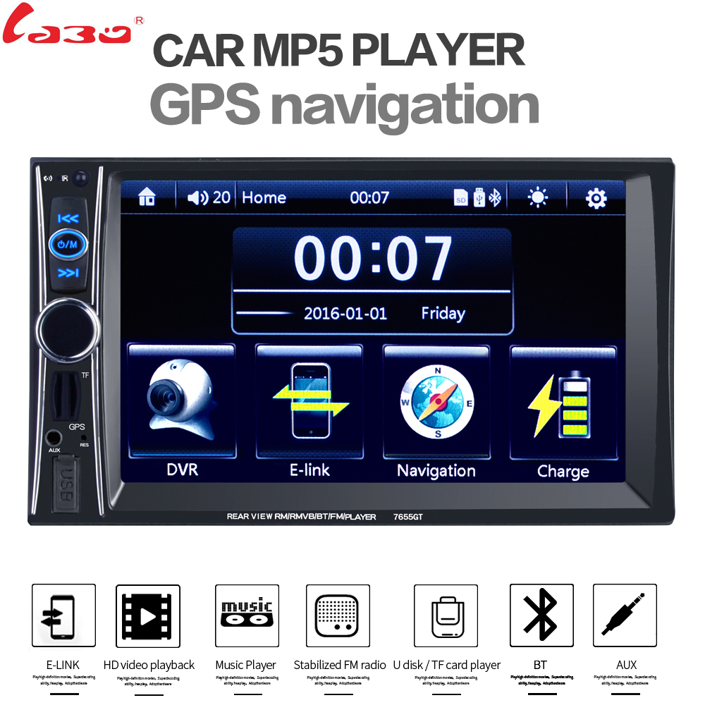 LaBo Car Video Player 7 HD 2 Din Car Radio Stereo GPS Navigation FM RDS Bluetooth