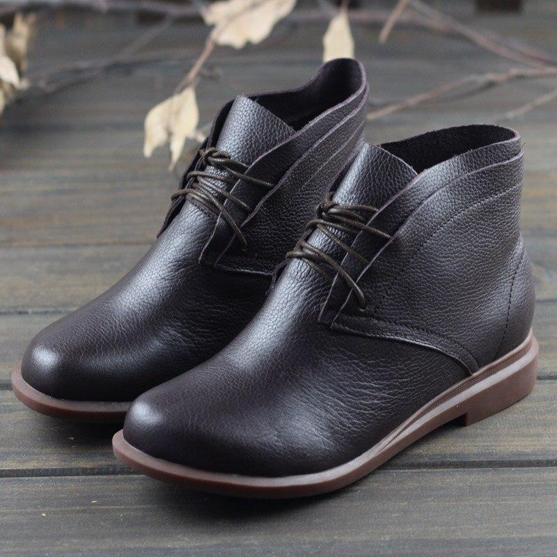 Botas de cuero genuino para mujer, botas de tobillo planas con puntera redonda, zapatos de mujer con cordones, calzado para mujer/calzado de otoño (0389 2)-in Botas hasta el tobillo from zapatos    1