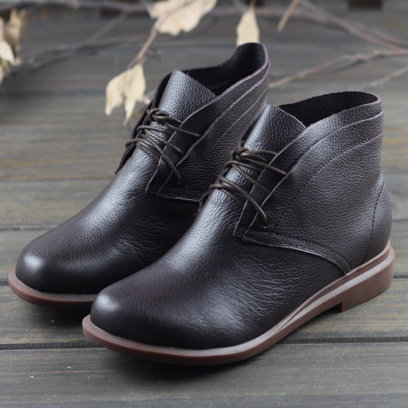 Women Boots Genuine Leather Woman Ankle Boots Flat Round toe Lace up Ladies Shoes Female Sping/Autumn Footwear (0389-2) women ankle boots handmade genuine leather woman boots autumn winter round toe soft comfotable retro boot shoes female footwear