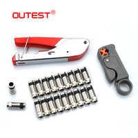 Pince à sertir câble coaxial OUTEST RG59/RG6 + coupe-câble coaxial + coupleur de câble coaxial outils de câble réseau