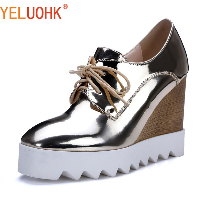 Wedges Shoes Heel Women High Heels Shoes Women Pumps Platform Shoes Autumn Patent Leather High Quality bling patent leather oxfords 2017 wedges gold silver platform shoes woman casual creepers pink high heels high quality hds59