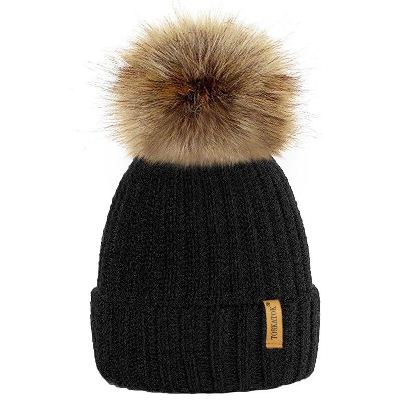 Winter Hat Knit Beanie Winter Baby Hat For Children Fur Pom Pom Hats For Girls Boys Muts Cap