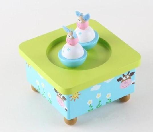 Frete grátis colorido enigma brinquedo de madeira girando animais caixa de música do presente do bebê