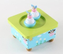 free shipping colorful puzzle wooden toy baby gift rotating animal music box
