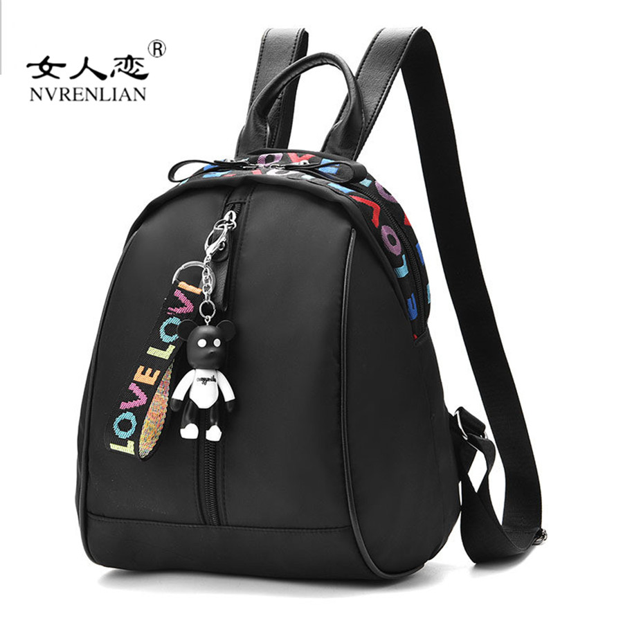 NVRENLIAN Brand Leather Women Backpack Waterproof Nylon School Bag Female Casual Travel Bags Shoulder Bag for Teenager Girls