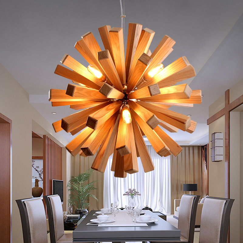 Nordic style wooden chandelier modern personalized decoration simple wood wood log LED restaurant Chandelier modern fashion simple circular wooden handle aluminum lid chandelier made of iron painting diameter 50cm ac110 240v